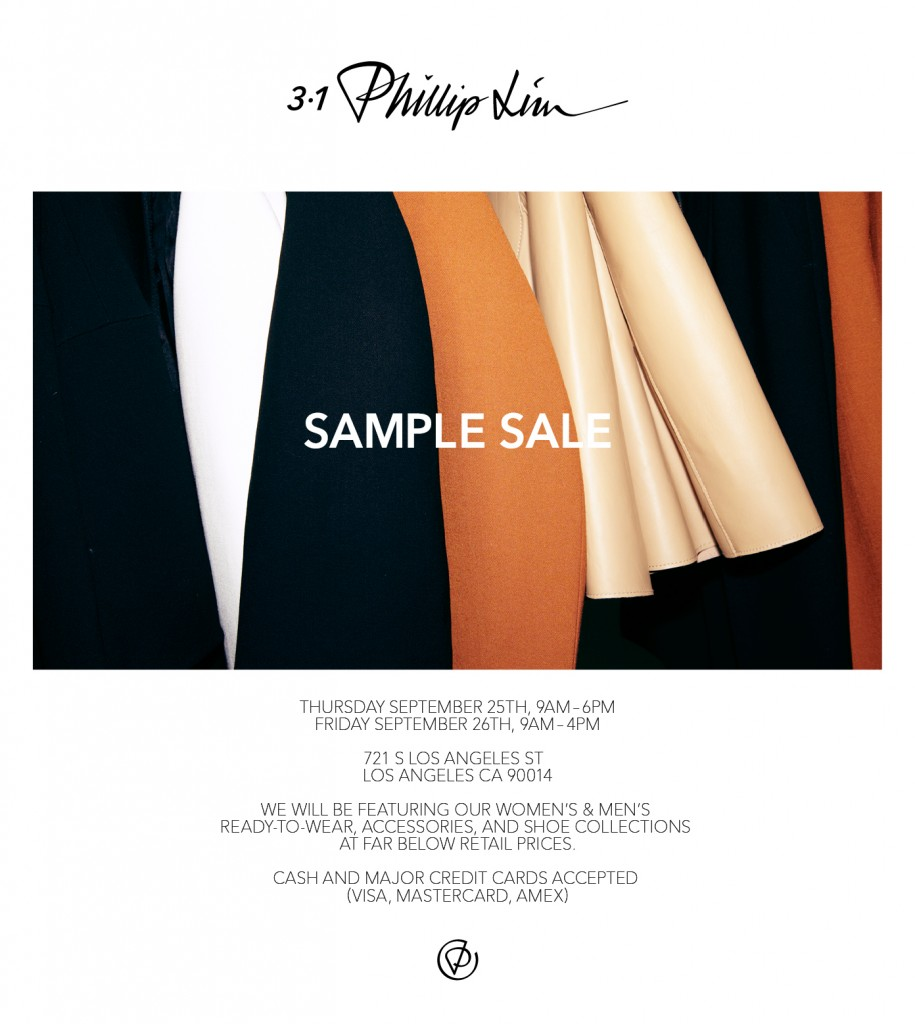 Phillip Lim's Sample Sale hits Los Angeles this week.