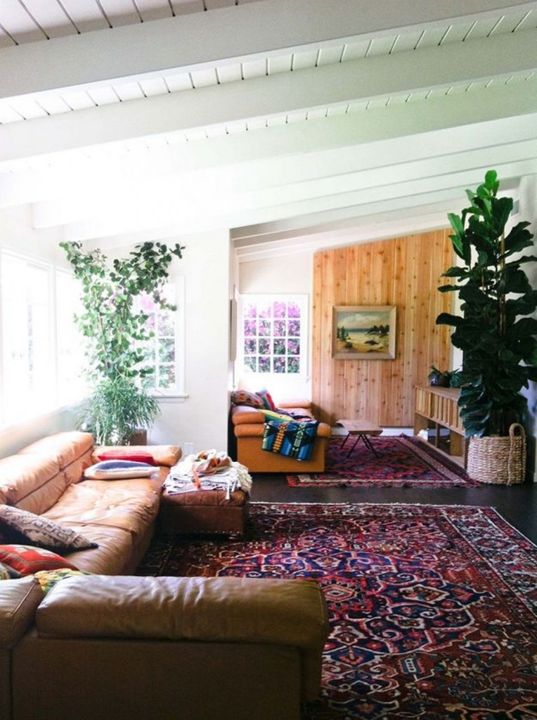 bohemian-living-room-design-with-bohemian-carpet-and-indoor-plants-and-leather-couches