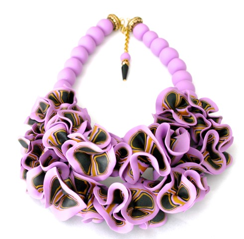 purple and black ruffle necklace 4